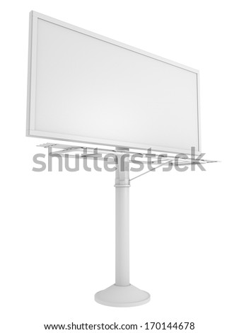 blank billboard on pole isolated on white. View from an angle