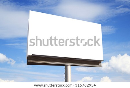 blank billboard on sky background - stock photo