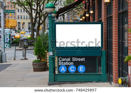 Blank billboard on subway entrance, clipping path included