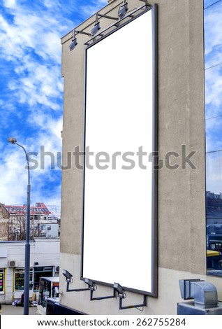 Blank billboard on the building, Useful for your advertisement - stock photo