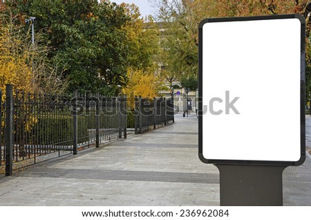 blank billboard on the city street  - stock photo