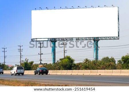 Blank billboard on the side of the road for advertisement