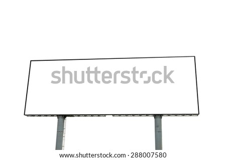 Blank billboard on white background - stock photo