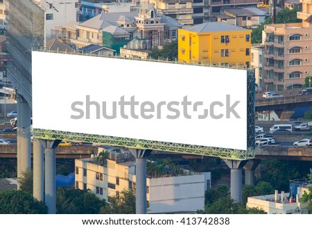 Blank billboard ready for new advertisement and your text in modern city background - stock photo