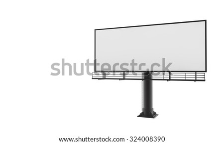 Blank billboard ready for new advertisement 3d render on white background