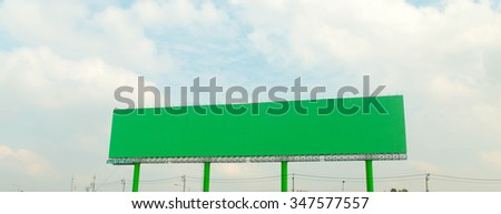 Blank billboard ready Green background  for new advertisement