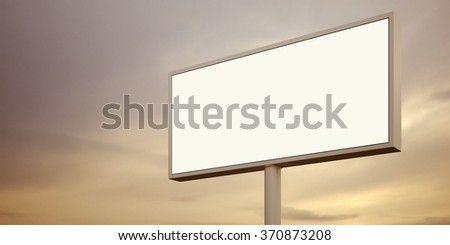 Blank billboard sign at sunset time. Wide, night sky on the background. 3d render - stock photo
