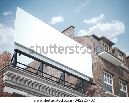 Blank billboard standing on the classic building  - stock photo