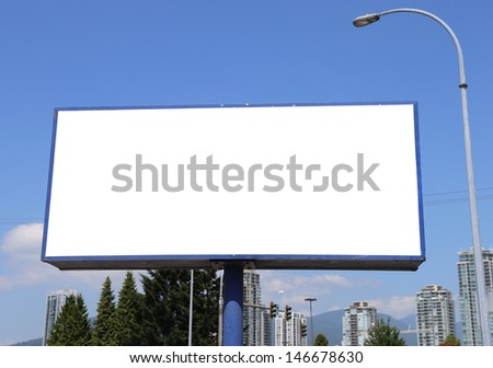 Blank billboard with city view background - stock photo