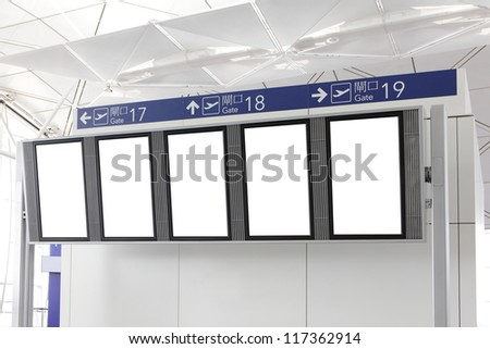 Blank Billboard with empty copy space in airport, shot in asia, china - stock photo