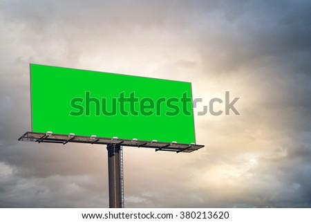 Blank billboard with rain cloud. - stock photo