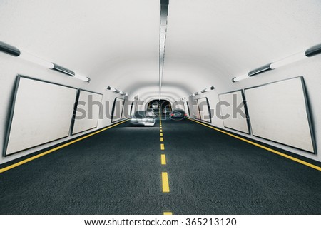 Blank billboards inside the tunnel with cars, mock up 3D Render - stock photo