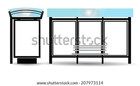 Blank Billboards on Bus Stop for your advertising - stock photo