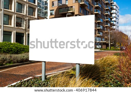 Blank billbord sign with a copy space area hanged from a long po - stock photo