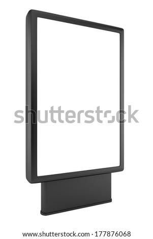 blank black advertising billboard isolated on white background  - stock photo
