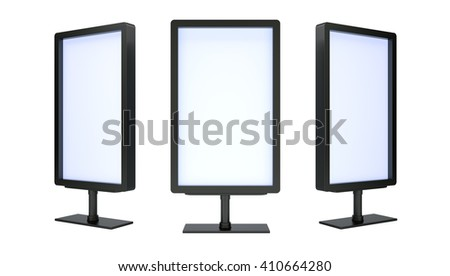 Blank black advertising billboards isolated on white background. 3D rendering - stock photo