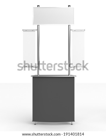 blank black and white booth or kiosk with banners - stock photo