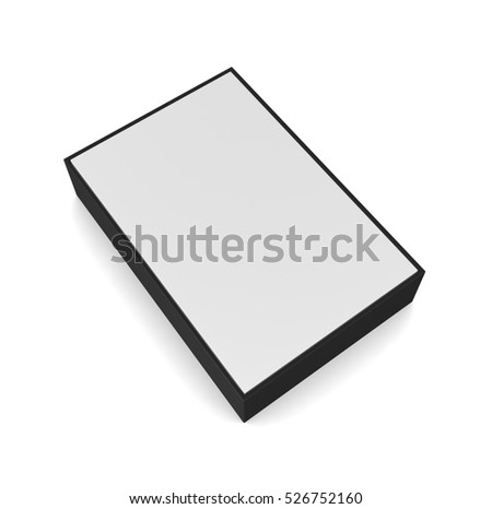 Blank black and white box isolated on white background. 3d illustration