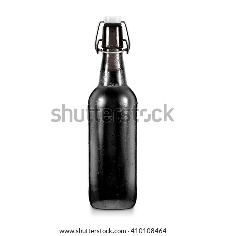 Blank black beer bottle mockup without label, isolated. Dark alcohol beverage botle mock up with clipping path. Cold wet beer flask template front view. Brewery bottle label branding. Beer corporate. - stock photo
