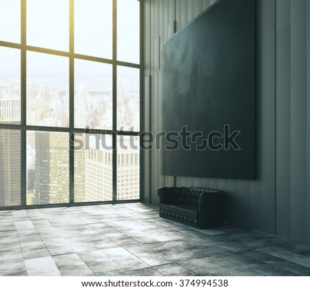 Blank black big picture above leather sofa in empty loft room with big windows and concrete floor 3D Render - stock photo