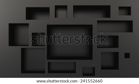 blank black boxes in perspective as a part of stylized frame - stock photo