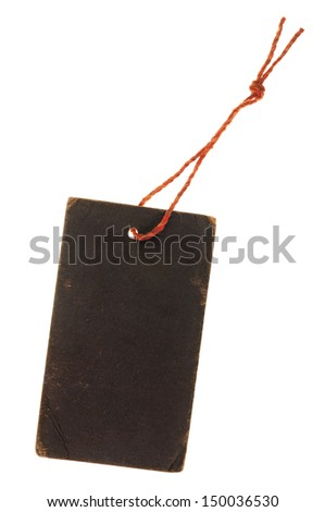 Blank black cardboard paper label or tag - stock photo