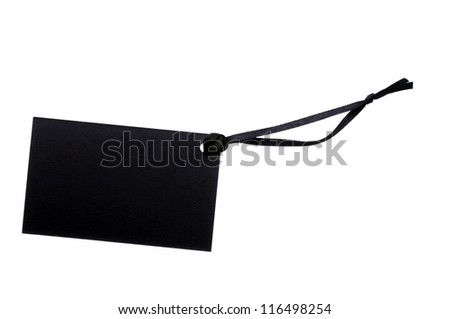 Blank black cardboard paper labels or tag isolated on the white background - stock photo