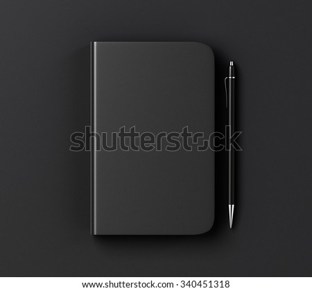 Blank black diary cover and pen on black table, mock up 3D Render - stock photo