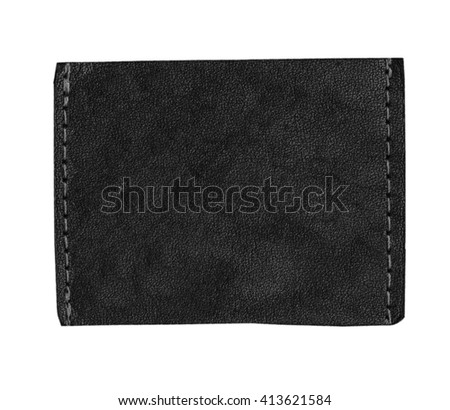 blank black jeans leather label isolated on white