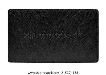 blank  black leather label texture on white background  - stock photo