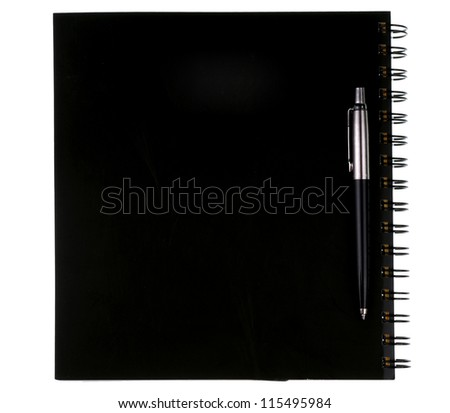 Blank black notebook with pen. isolated on white.