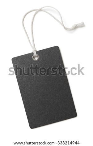 Blank black paper price or gift tag isolated  - stock photo