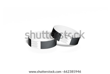 blank black paper wristbands mock ups stock illustration  blank black paper wristbands mock ups 3d rendering empty event wrist bands design mockup