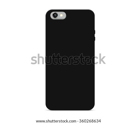 Blank black phone case mock up stand isolated. Empty smart phone cover mockup ready for logo, texture print presentation. Cellphone protector cover concept. Smartphone casing design. Plastic container