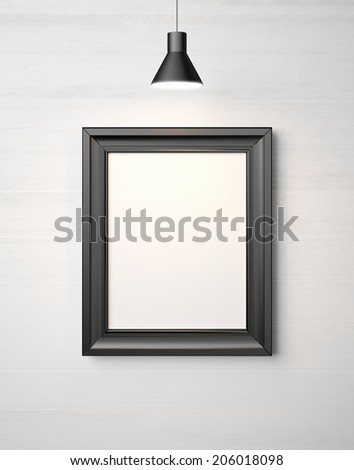 Blank black picture frame - stock photo