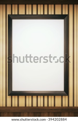 Blank, black picture frame hanging on wall with stripy wallpaper. Mock up, 3D Render - stock photo