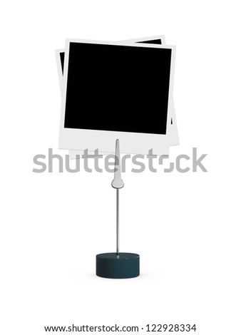 Blank black polaroid photo attached to card holder, isolated on white background. - stock photo