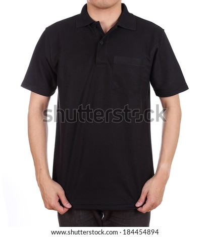 blank black polo shirt (front side) on man isolated on white background - stock photo