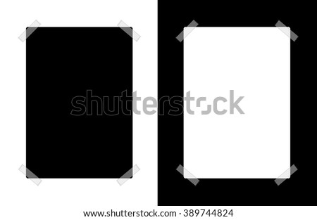 Blank Black Poster on White Background and White Poster on Black Background with Translucent Masking Tape Illustration