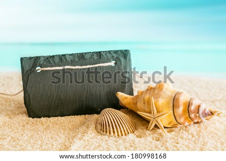 Blank black sign with copyspace on a tropical beach with a blue azure ocean backdrop with seashells and a starfish in an idyllic tropical getaway - stock photo