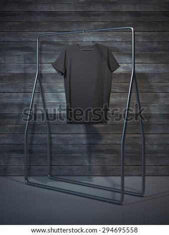 Blank black t-shirt. 3d rendering - stock photo