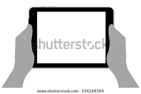 Blank Black Tablet PC With Hand Isolate on White Background