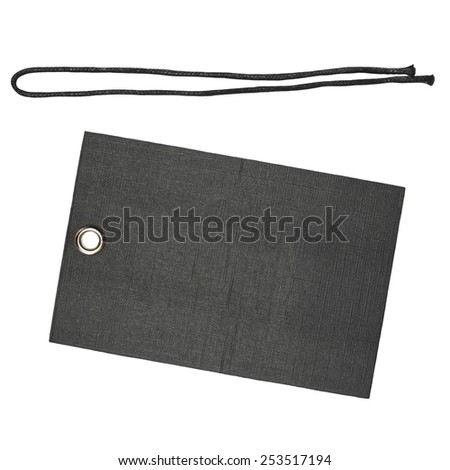 Blank black tag with string isolated on white background, design element - stock photo