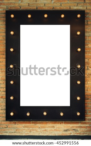 Blank Black Vintage Poster Frame With Retro Electric Bulbs On The Brick Wall Bar Cafe