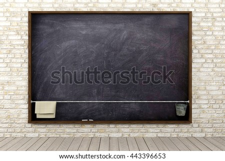 Blank blackboard in brick wall room interior, education background concept, 3D rendering