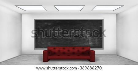 Blank blackboard in empty room with red sofa
