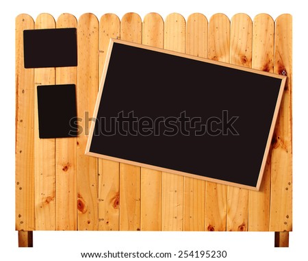 blank blackboard on wood ready isolated on white with path - stock photo