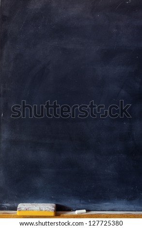 Blank blackboard with white chalk and eraser - stock photo