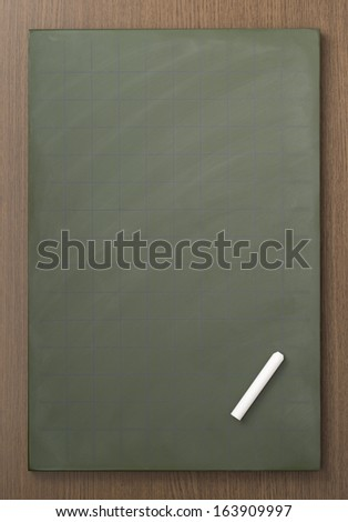Blank blackboard with white chalks