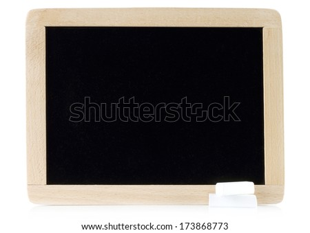 Blank blackboard with white chalks on white background